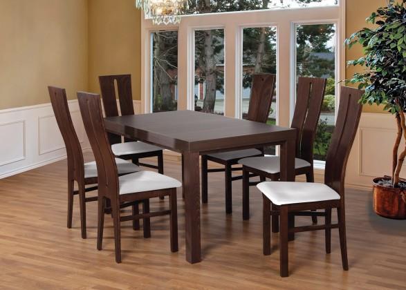 Jídelní set Set 1 - 6x židle, stůl, rozkládací (ořech tmavý/madryt 120/buk)