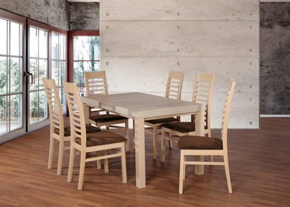 Jídelní set Set 17 - 6x židle,1x stůl,rozklad (dub sonoma/nubuk 26W)