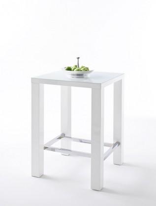 Jídelní stoly Barový stolek Jordy (bílá, stříbrná, čtverec)