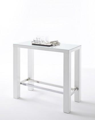 Jídelní stoly Barový stolek Jordy (bílá, stříbrná, obdélník)