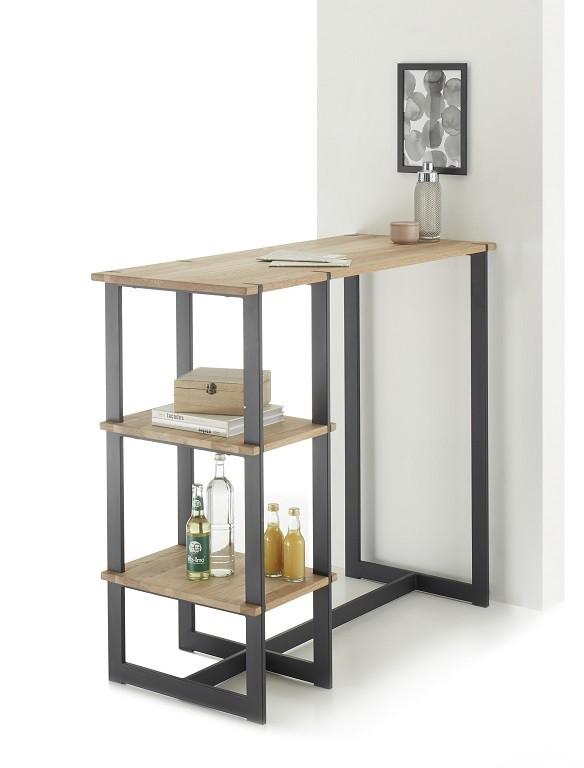 Jídelní stoly Barový stolek Ponce (dub, černá)