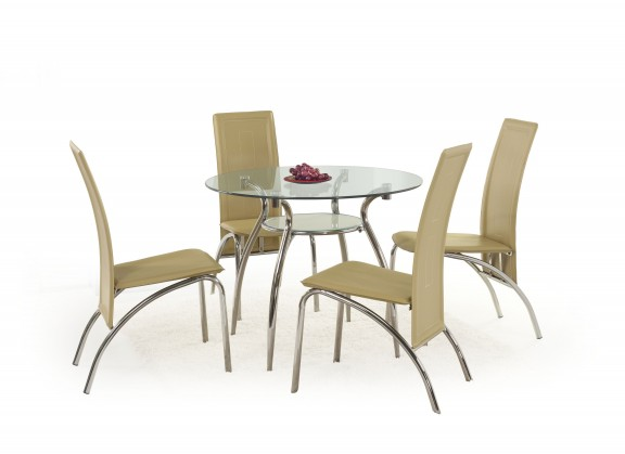 Jídelní stoly Jídelní stůl Adam (sklo - transparentní/ocel)