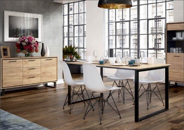 Jídelní stoly Jídelní stůl Brick (dub craft/černá)