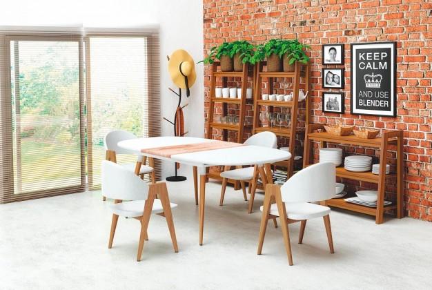 Jídelní stoly Jídelní stůl Caliber - rozkládací 160/200 (bílá mat/dub san remo)