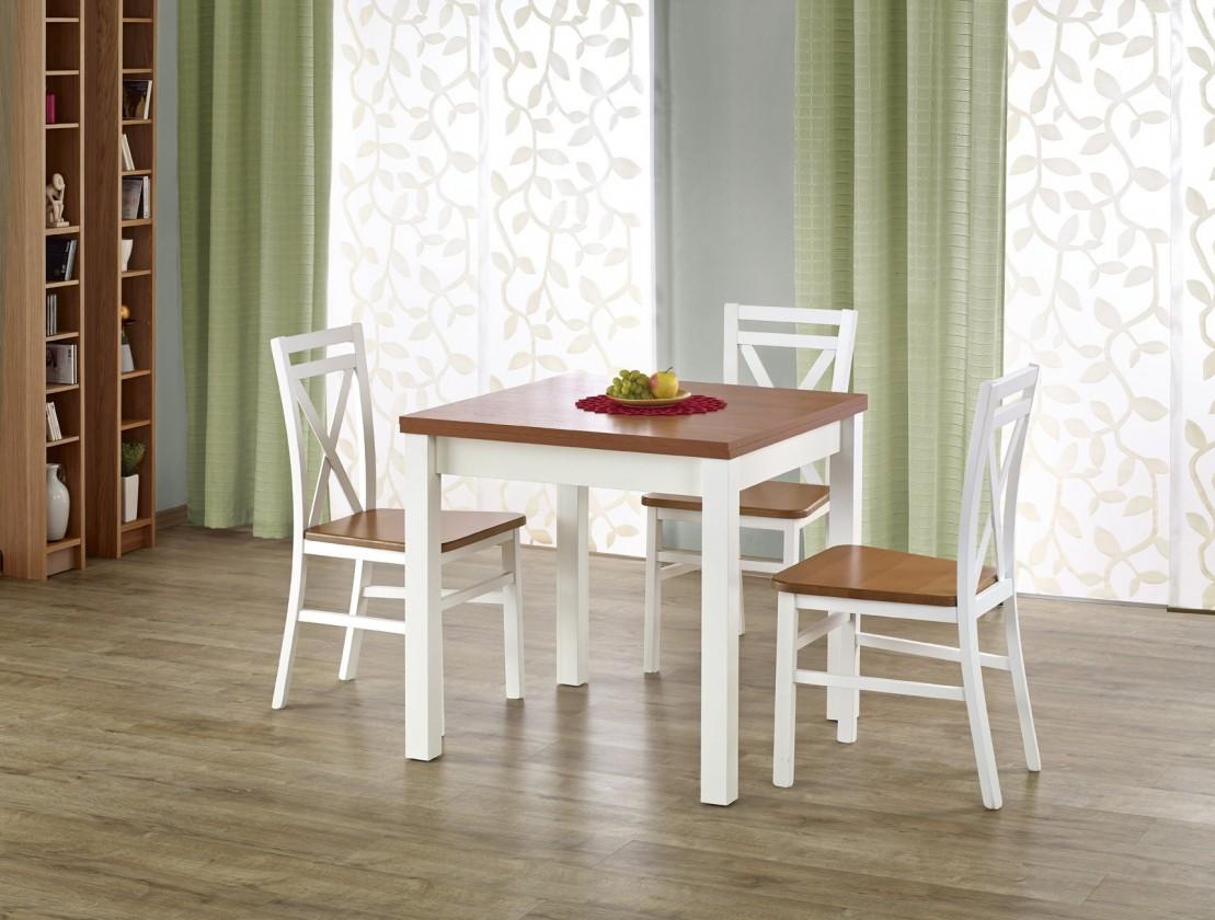 Jídelní stoly Jídelní stůl Gracjan rozkládací - 80-160x80 cm (olše/bílá)