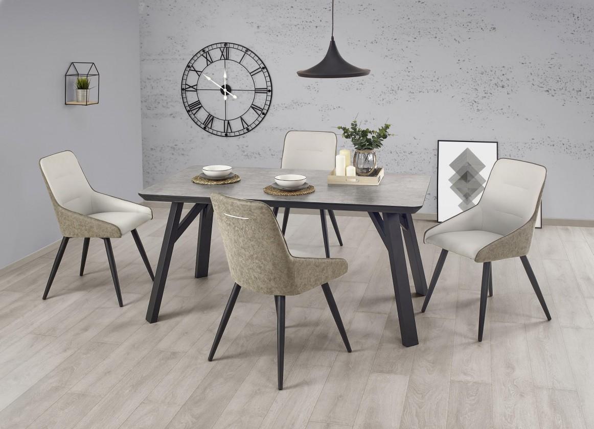 Jídelní stoly Jídelní stůl Halifax - 160x90x76 cm (beton/černá)