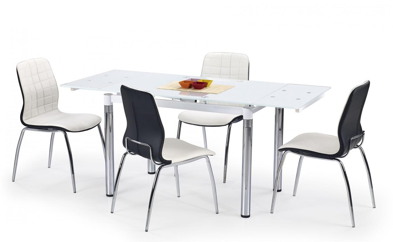 Jídelní stoly Jídelní stůl L 31 (sklo - bílá/ocel)
