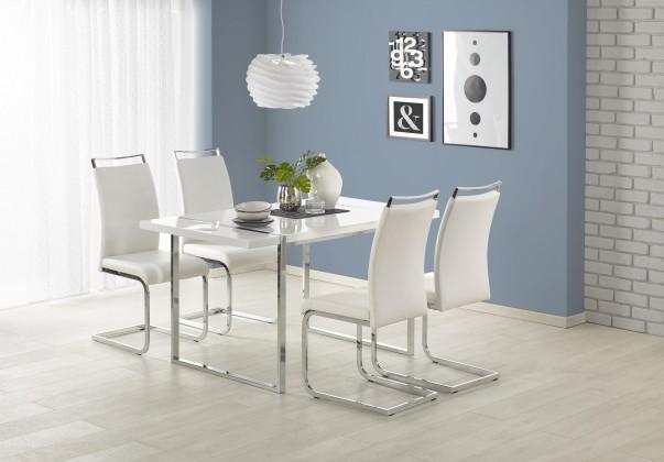 Jídelní stoly Jídelní stůl Lion - 140x80x75 cm (bílá/stříbrná)