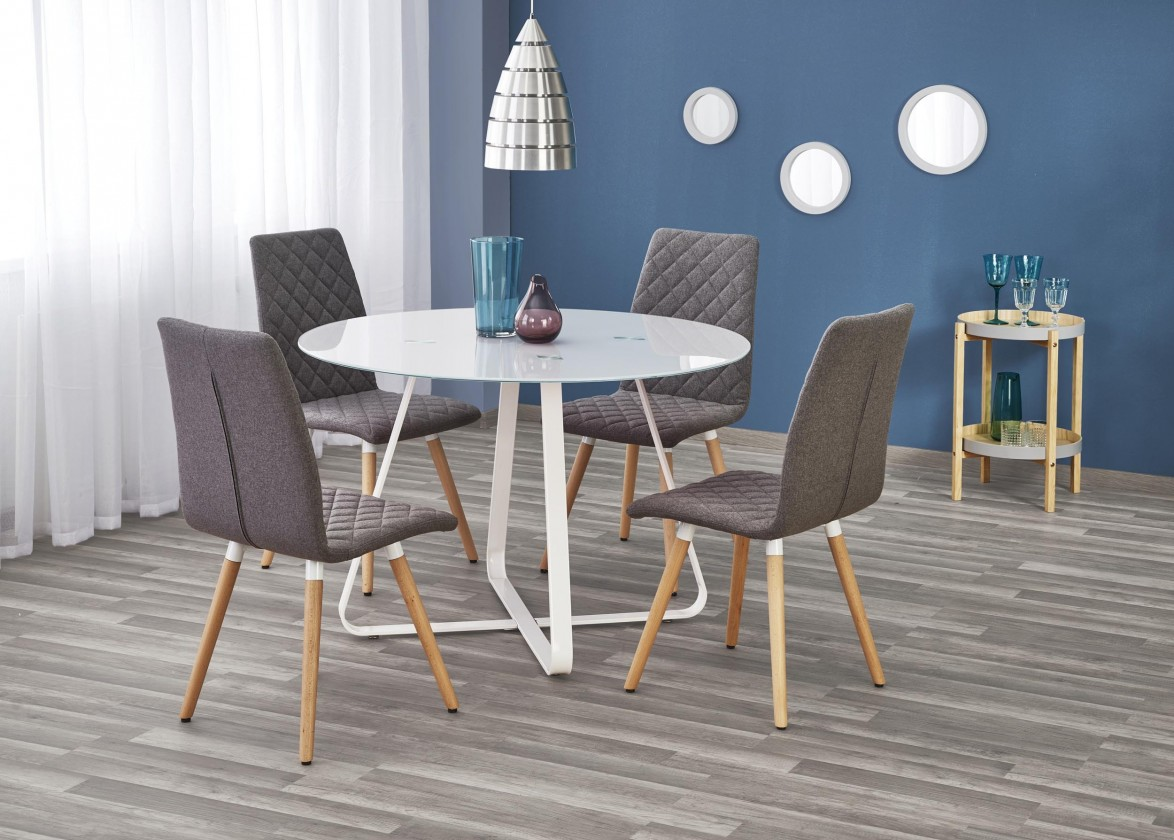 Jídelní stoly Jídelní stůl Looper - prům.115x76 cm (bílá)