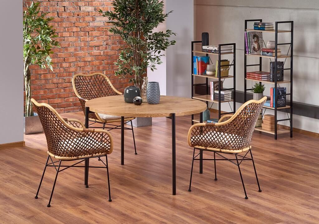 Jídelní stoly Jídelní stůl Milo (dub, černá)