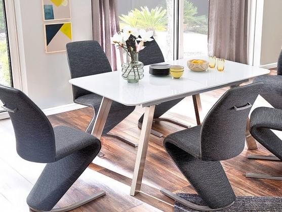 Jídelní stoly Jídelní stůl Omero rozkládací (bílá, stříbrná)