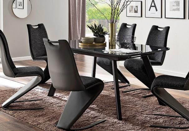 Jídelní stoly Jídelní stůl Omero rozkládací (šedá, černá)