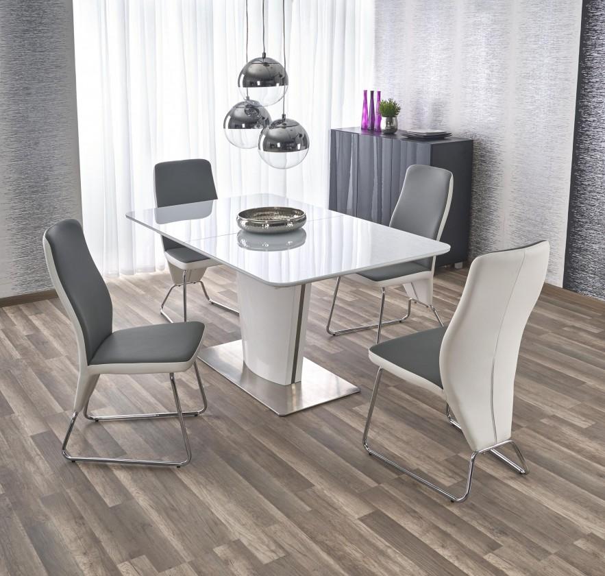 Jídelní stoly Jídelní stůl Platon - rozkládací , 160-200x90x76 (bílá/stříbrná)