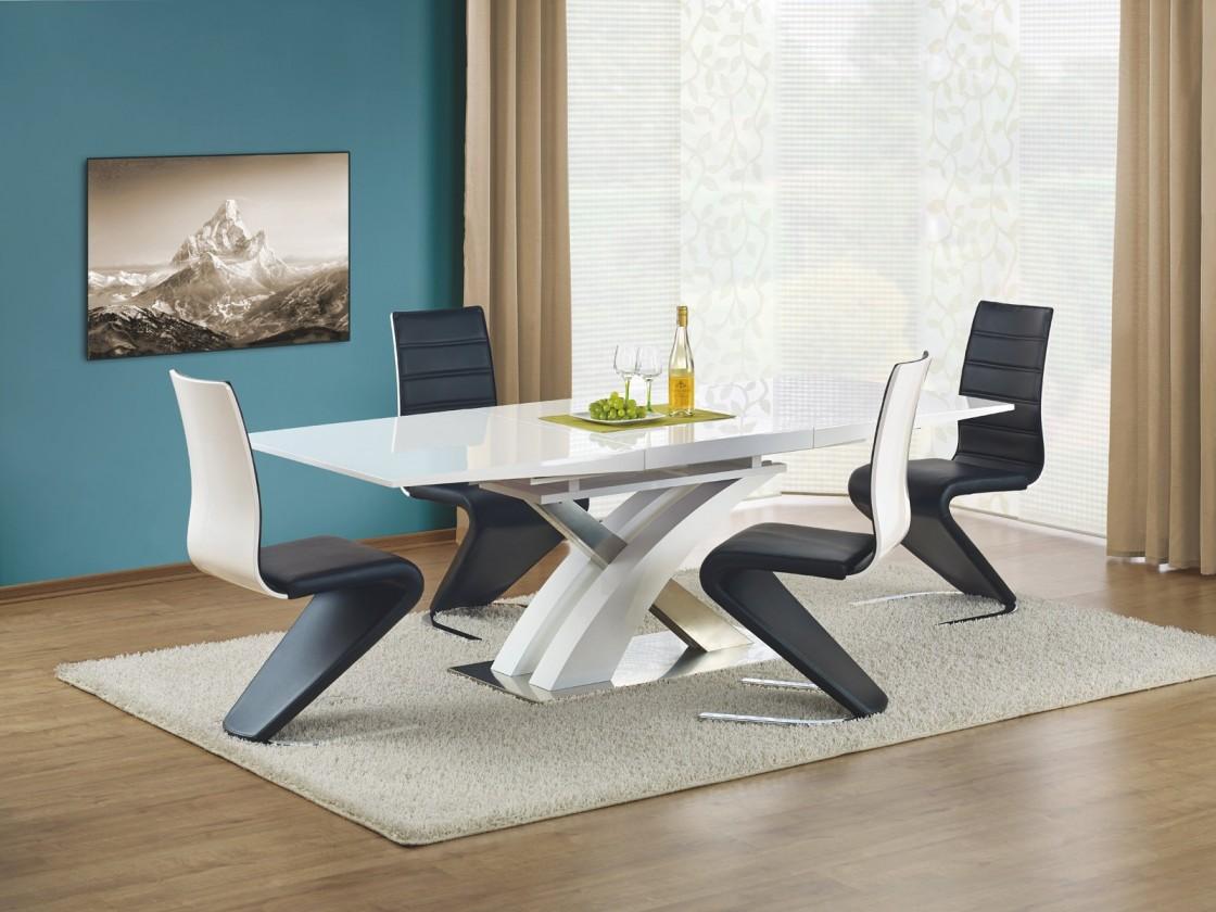 Jídelní stoly Jídelní stůl Sandor rozkládací 160-220x90 cm (bílý lak/stříbrná)