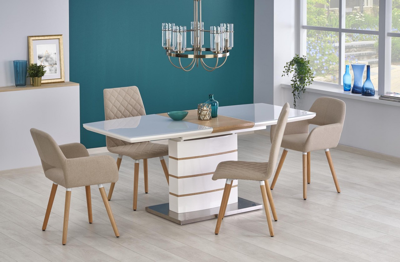 Jídelní stoly Jídelní stůl Toronto - rozkládací (bílá/dub zlatý/stříbrná)