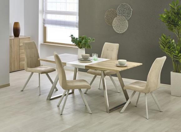 Jídelní stoly Jídelní stůl Trevor - rozkládací (bílá/dub sonoma/stříbrná)