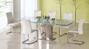Jídelní stůl Alessandro (sklo - mléčné/nerez)