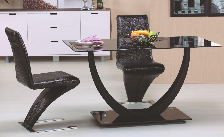 Jídelní stůl Anton (sklo - černá / chrom - černá)