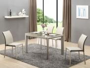 Jídelní stůl Arabis  (sklo,světle hnědá/béžová)