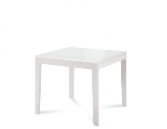Jídelní stůl Asso-90 - Jídelní stůl (bílý lak, bílé sklo)