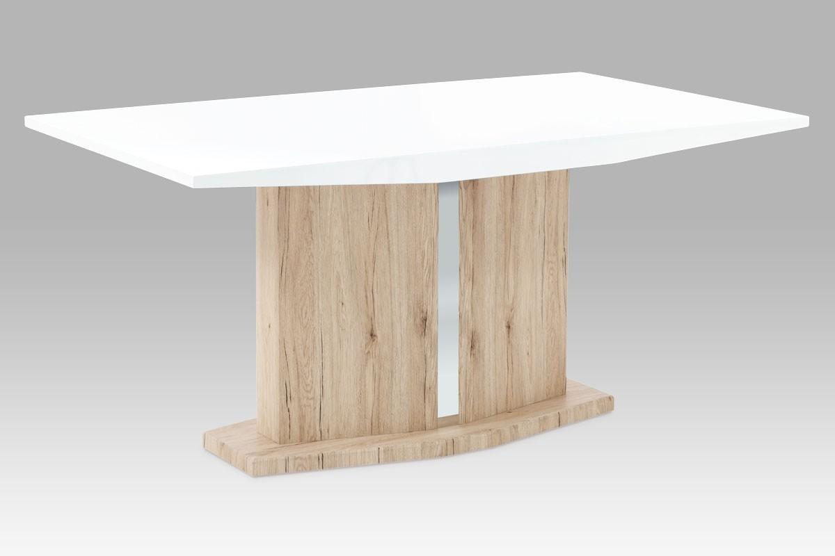 Jídelní stůl AT - Jídelní stůl (vysoký lesk bílý/dub san remo)