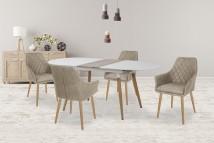 Jídelní stůl Caliber - rozkládací 160/200 (bílá mat/dub san remo)