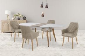 Jídelní stůl Caliber - rozkládací (bílá mat/dub san remo)
