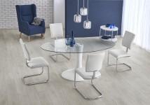 Jídelní stůl Coral - 180x100x76 cm (čirá/bílá)