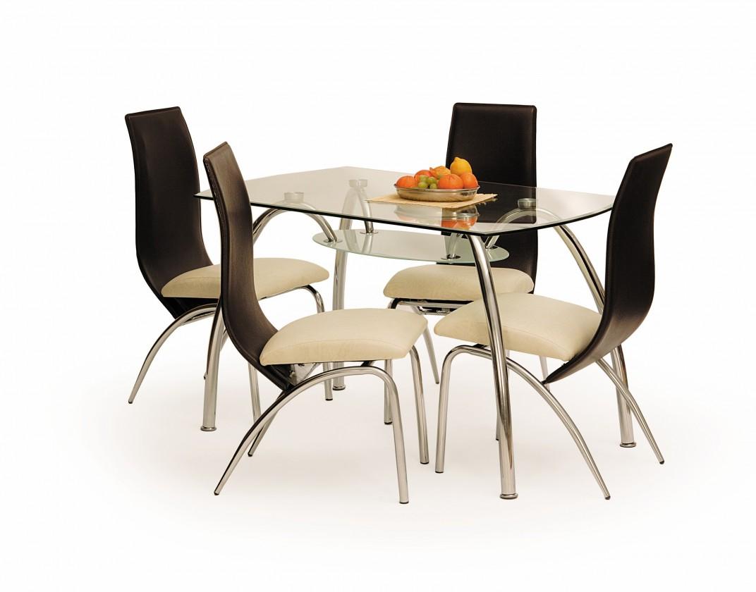 Jídelní stůl Corwin bis (sklo - transparentní / ocel)
