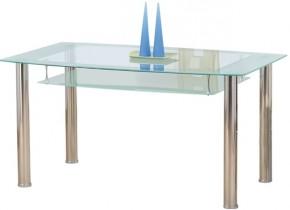 Jídelní stůl Cristal (ocel/sklo číré/sklo mléčné)