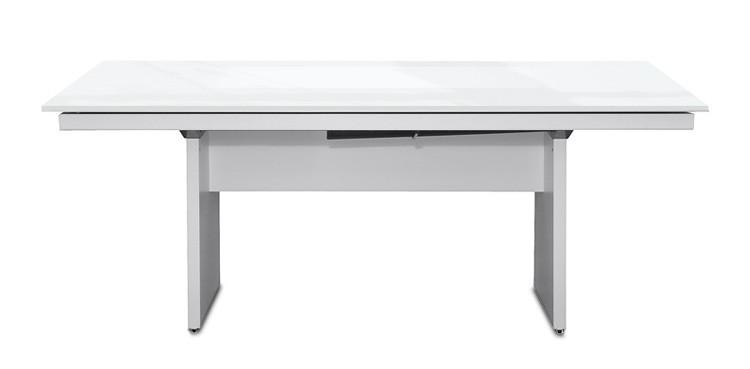 Jídelní stůl Deck 160 cm (deska bílá lesk/kostra panely bílá)