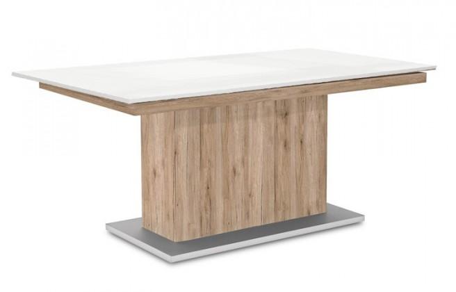 Jídelní stůl Deck 160 cm (deska bílá lesk/kostra postavec pískový dub)