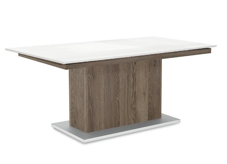 Jídelní stůl Deck 160 cm (deska bílá lesk/kostra postavec tmavý dub)