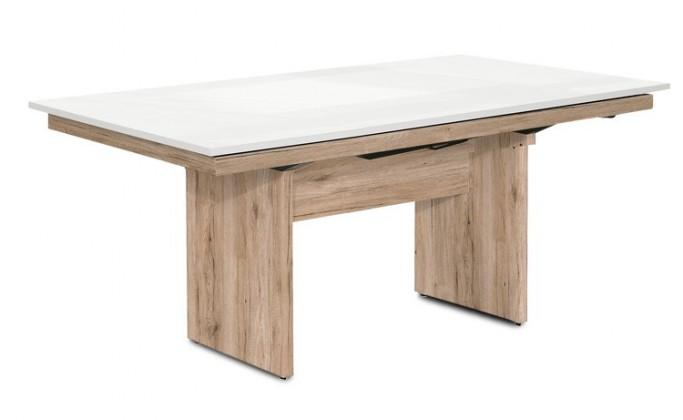 Jídelní stůl Deck 160 cm, rozkládací  (bílá lesk/kostra panely pískový dub)