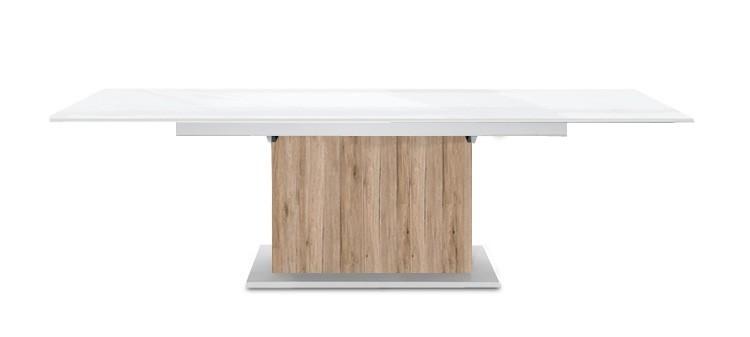Jídelní stůl Deck 160 cm, rozkládací  (bílá lesk/ pískový dub)