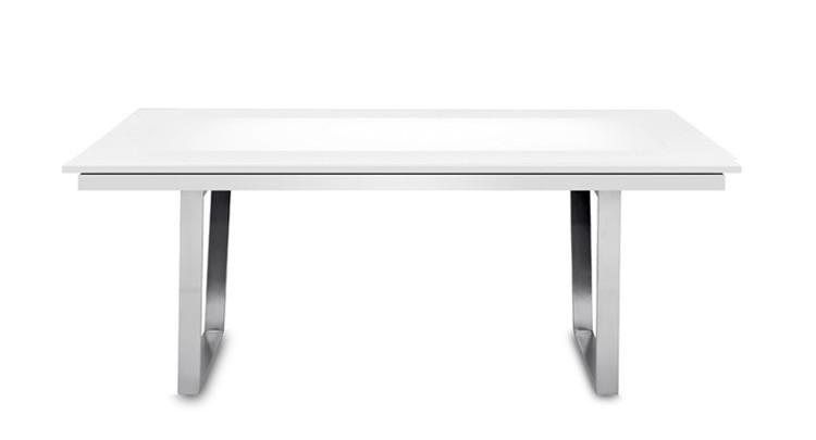 Jídelní stůl Deck 160 cm, rozkládací  (deska bílá lesk/kostra ocel)