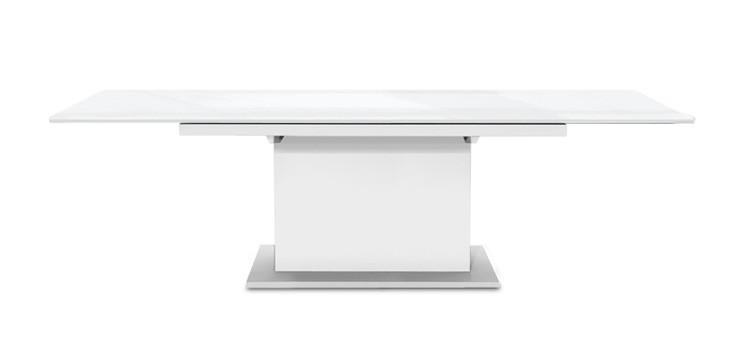 Jídelní stůl Deck 160 cm, rozkládací  (deska bílá lesk/kostra postavec bílá)