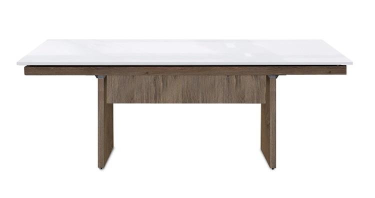 Jídelní stůl Deck 190 cm (deska bílá lesk/kostra panely tmavý dub)