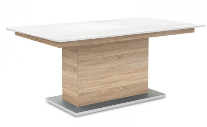 Jídelní stůl Deck 190 cm (deska bílá lesk/kostra postavec dub)