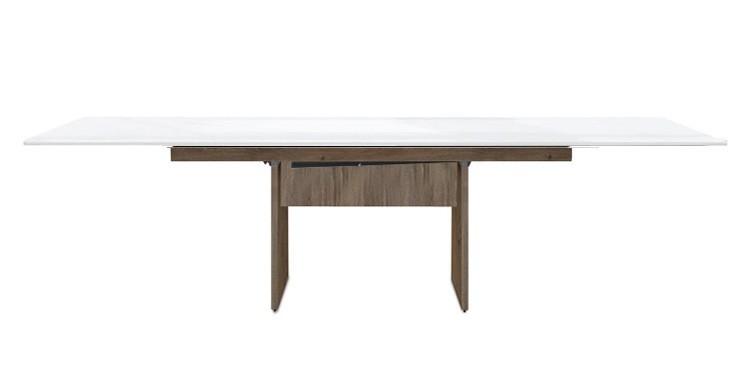Jídelní stůl Deck 190 cm, rozkládací  (bílá lesk/kostra panely tmavý dub)
