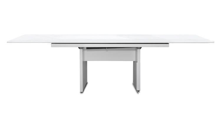 Jídelní stůl Deck 190 cm, rozkládací  (deska bílá lesk/kostra panely bílá)
