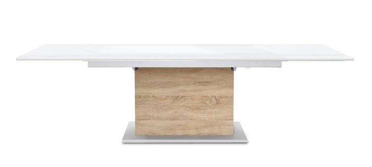 Jídelní stůl Deck 190 cm, rozkládací  (deska bílá lesk/kostra postavec dub)