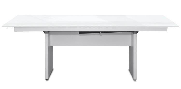 Jídelní stůl Deck 220 cm (deska bílá lesk/kostra panely bílá)