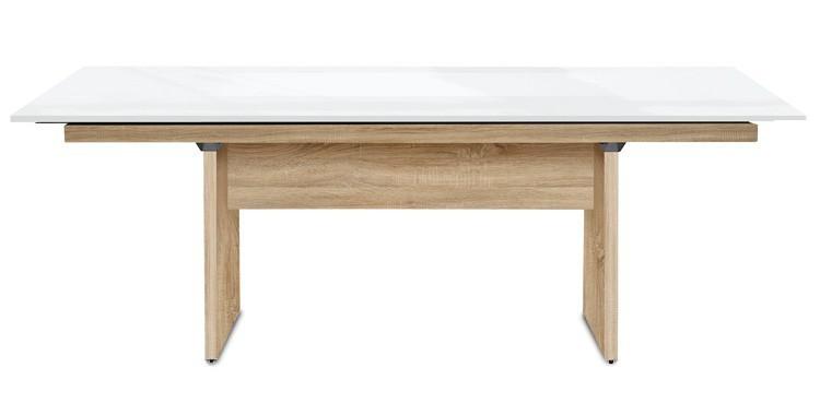 Jídelní stůl Deck 220 cm (deska bílá lesk/kostra panely dub)