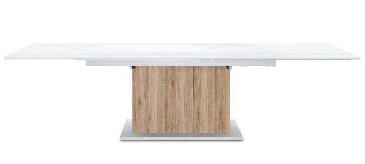 Jídelní stůl Deck 220 cm, rozkládací  (bílá lesk/pískový dub)