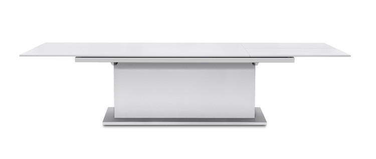 Jídelní stůl Deck 220 cm, rozkládací  (deska bílá/kostra postavec bílá)