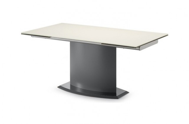 Jídelní stůl Discovery - 160 cm (kostra antracit/deska leptané sklo bílé)