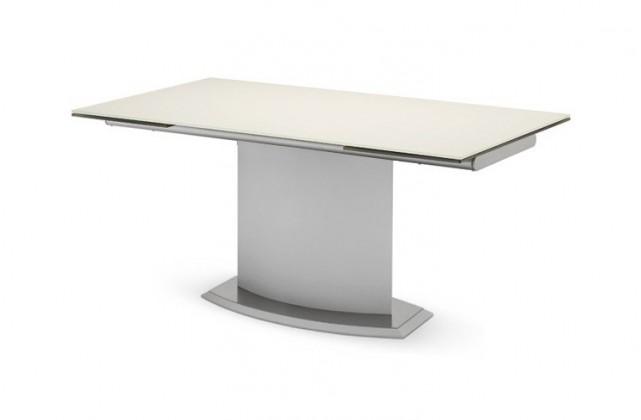 Jídelní stůl Discovery - 160 cm (kostra bílá/deska leptané sklo bílé)