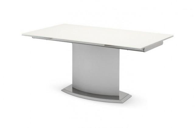 Jídelní stůl Discovery - 160 cm (kostra bílá/deska leptané sklo šedé)