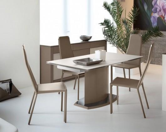 Jídelní stůl Discovery - 160 cm (kostra taupe/deska leptané sklo bílé)